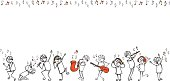 Stick people dancing, singing and playing instruments, border ideal for placing your message, plenty of copy-space. CMYK color mode. Enjoy!
