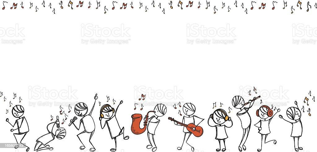 Stick people music series vector art illustration