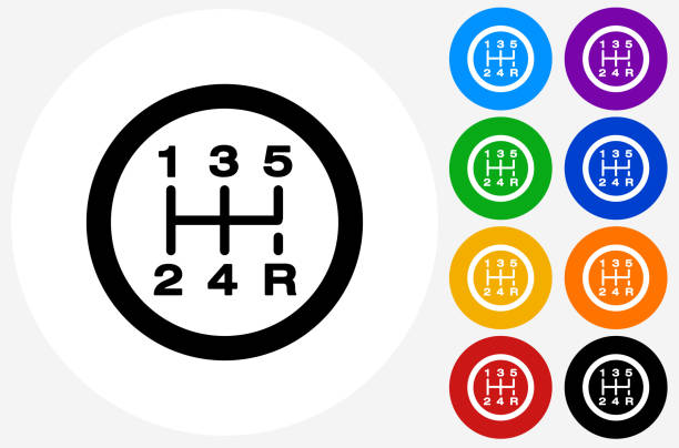 Stick Shift Icon on Flat Color Circle Buttons Stick Shift Icon on Flat Color Circle Buttons. This 100% royalty free vector illustration features the main icon pictured in black inside a white circle. The alternative color options in blue, green, yellow, red, purple, indigo, orange and black are on the right of the icon and are arranged in two vertical columns. gearshift stock illustrations