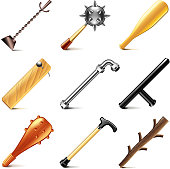 Stick weapons icons vector set