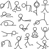 Set of stick figure in different yoga poses. Vector illustration.