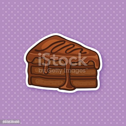 Vector illustration. A piece of cake with chocolate glaze cream and fondant. Sticker in cartoon style with contour. For greeting cards, patches, prints for clothes, badges, posters, menus