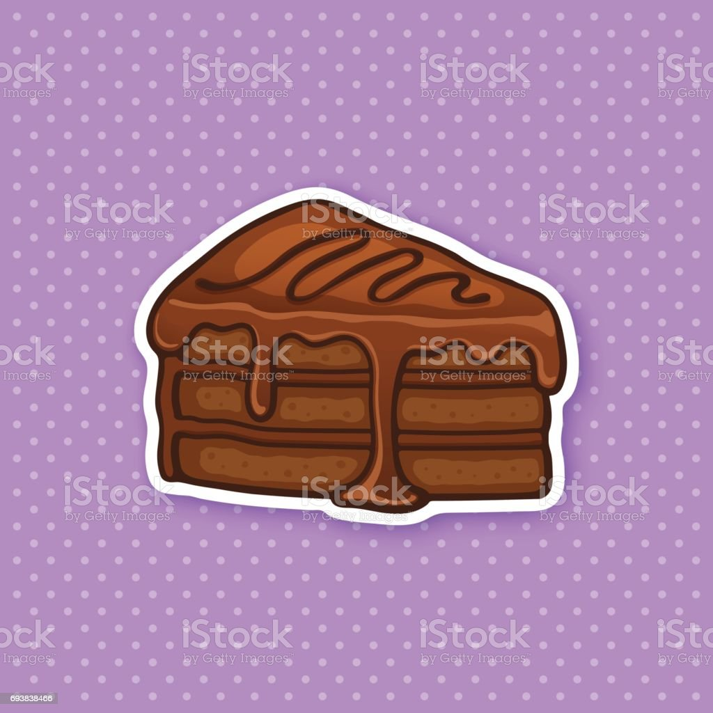 Sticker a piece of cake with pink glaze cream fondant and confiture vector art illustration