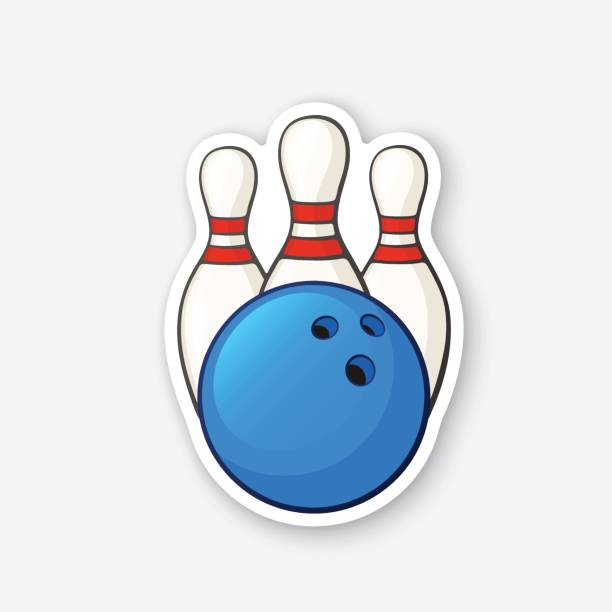 Sticker blue bowling ball and pins vector art illustration