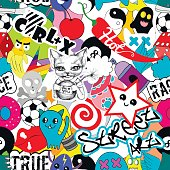 Seamless vector pattern bright colorful stickers characters background, funny graffiti, street