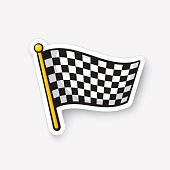 Sticker chequered racing flag on flagstaff