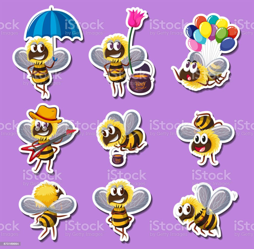 Sticker design for bee in different actions vector art illustration