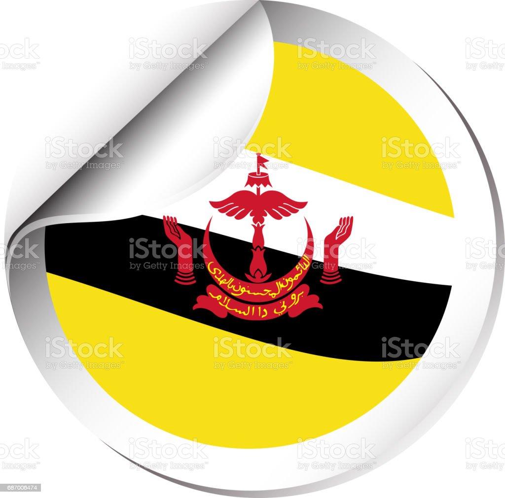 Sticker Design For Flag Of Brunei Stock Vector Art More Images Of