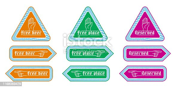 Stickers direction signs for customer service in beer tents at Oktoberfest. Notified labels with finger pointing Free beer, free place, reserved. To left to right indicator. Set of vector illustration
