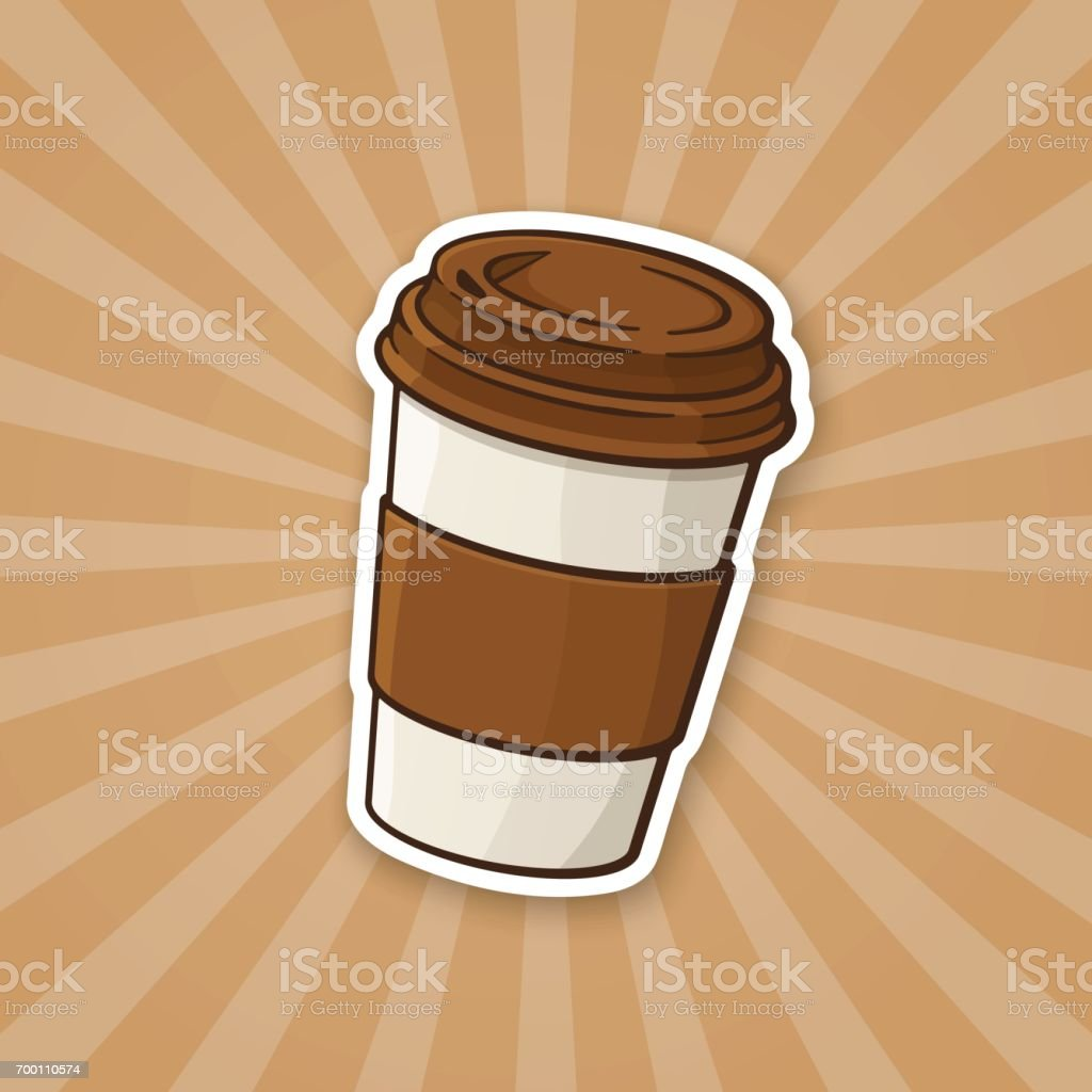 Sticker disposable paper cup with coffee or tea vector art illustration