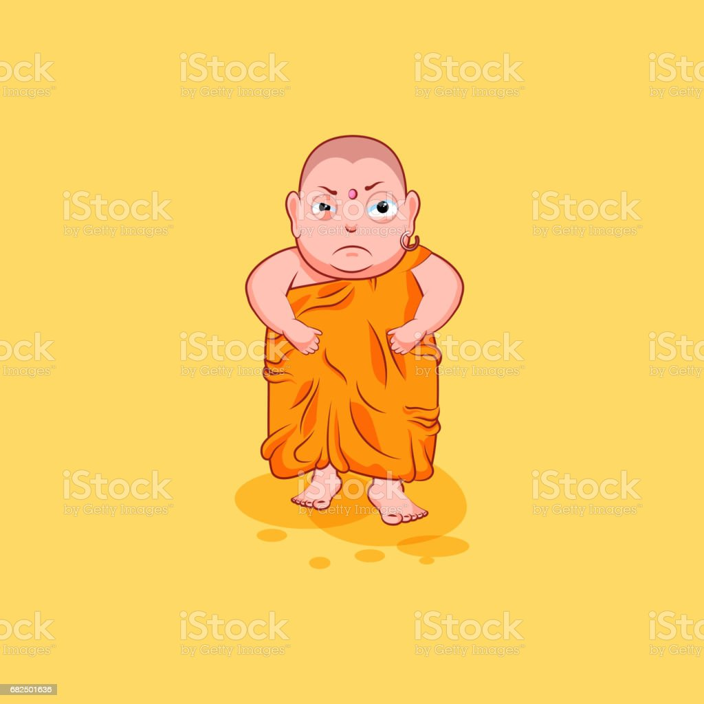Sticker emoji emoticon emotion vector isolated illustration unhappy character cartoon angry Buddha vector art illustration