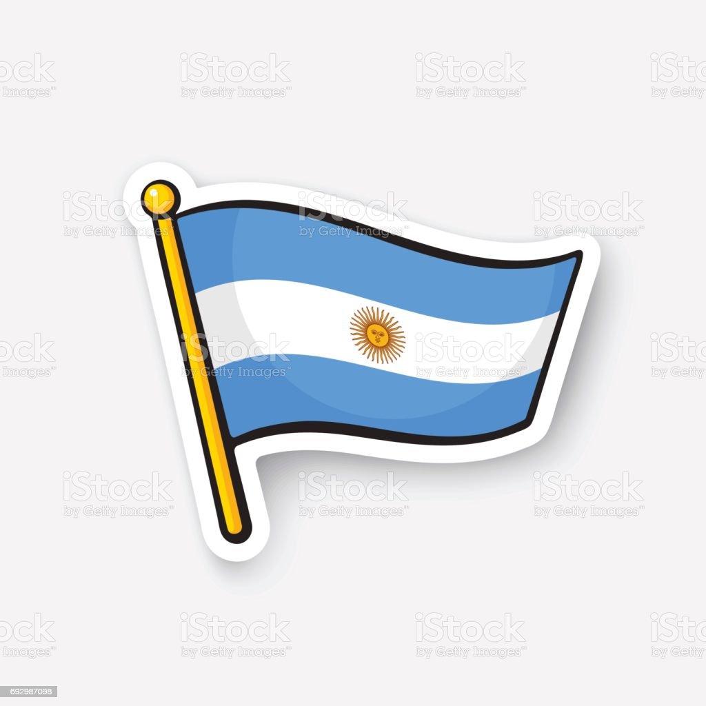 Sticker flag of Argentina on flagstaff vector art illustration