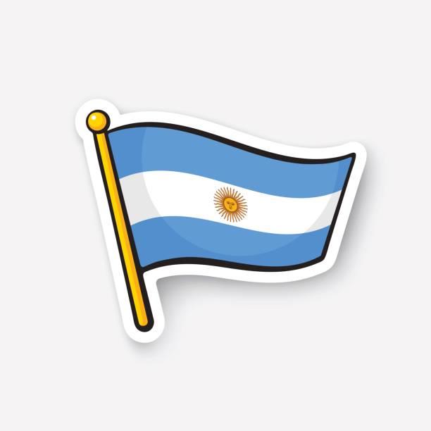 sticker flag of argentina on flagstaff - argentina flag stock illustrations, clip art, cartoons, & icons