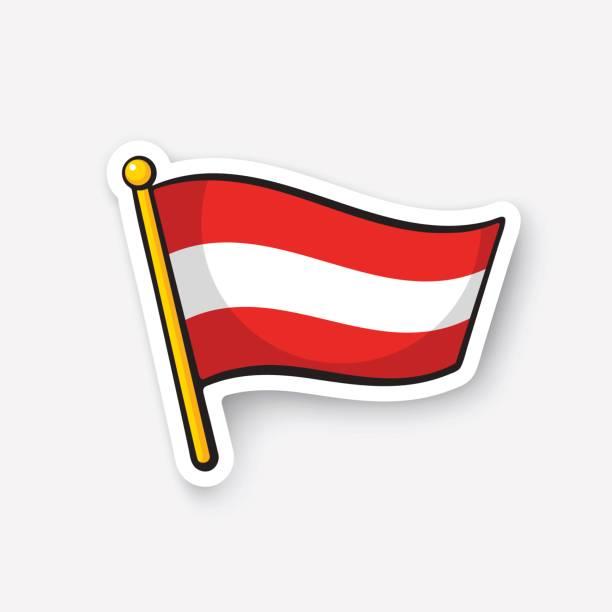 Grafika wektorowa, ikony, ilustracje Flaga Austrii na licencji royalty-free - iStock