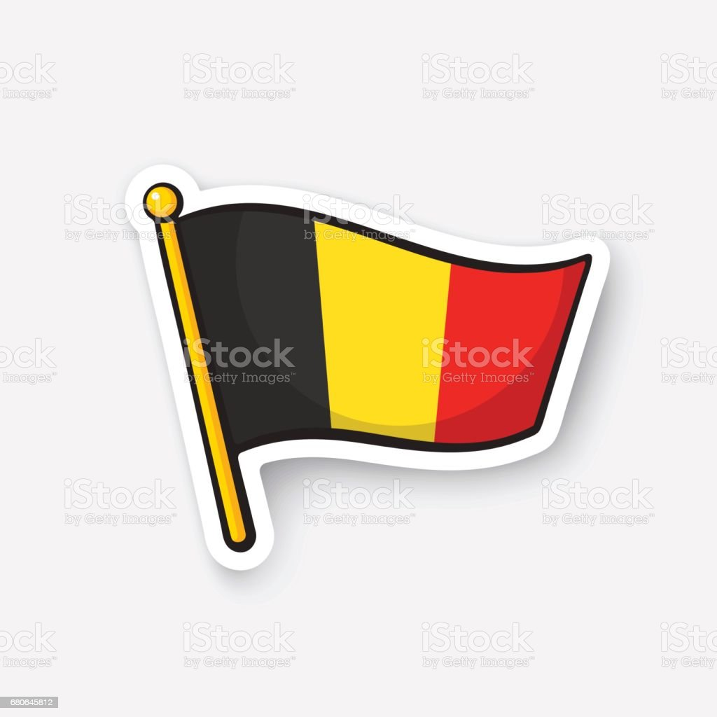 Sticker flag of Belgium on flagstaff vector art illustration