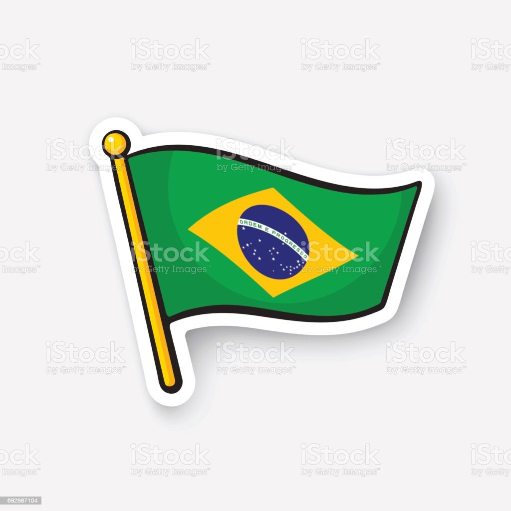 Sticker flag of Brazil on flagstaff vector art illustration