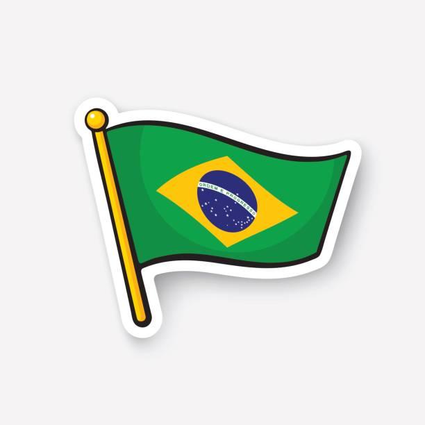 Sticker flag of Brazil on flagstaff vector art illustration