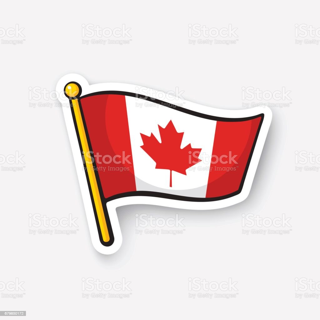 Sticker flag of Canada on flagstaff vector art illustration