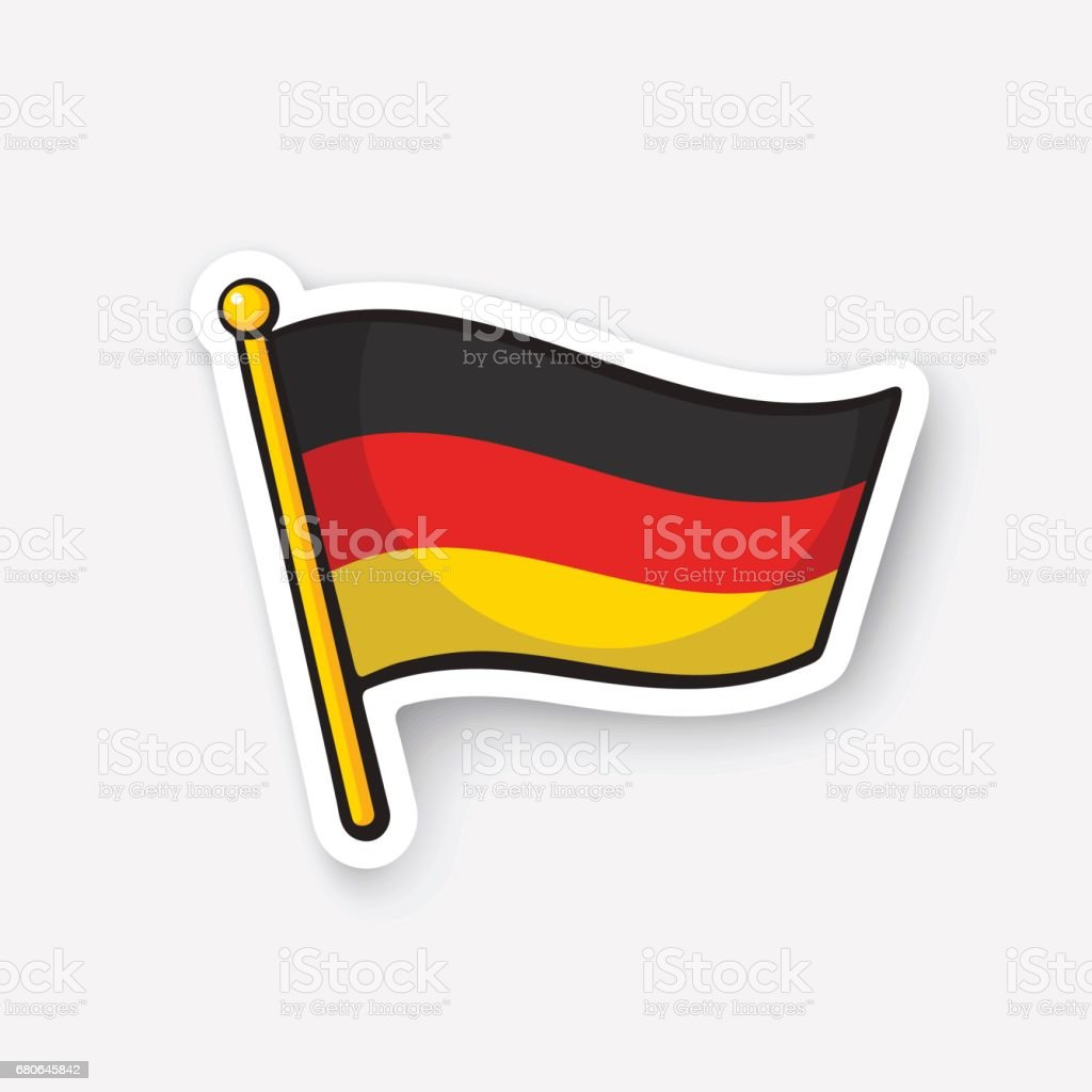 Sticker flag of Germany on flagstaff vector art illustration
