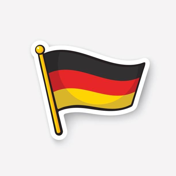 ilustraciones, imágenes clip art, dibujos animados e iconos de stock de bandera de la etiqueta engomada de alemania en flagstaff - bandera alemana