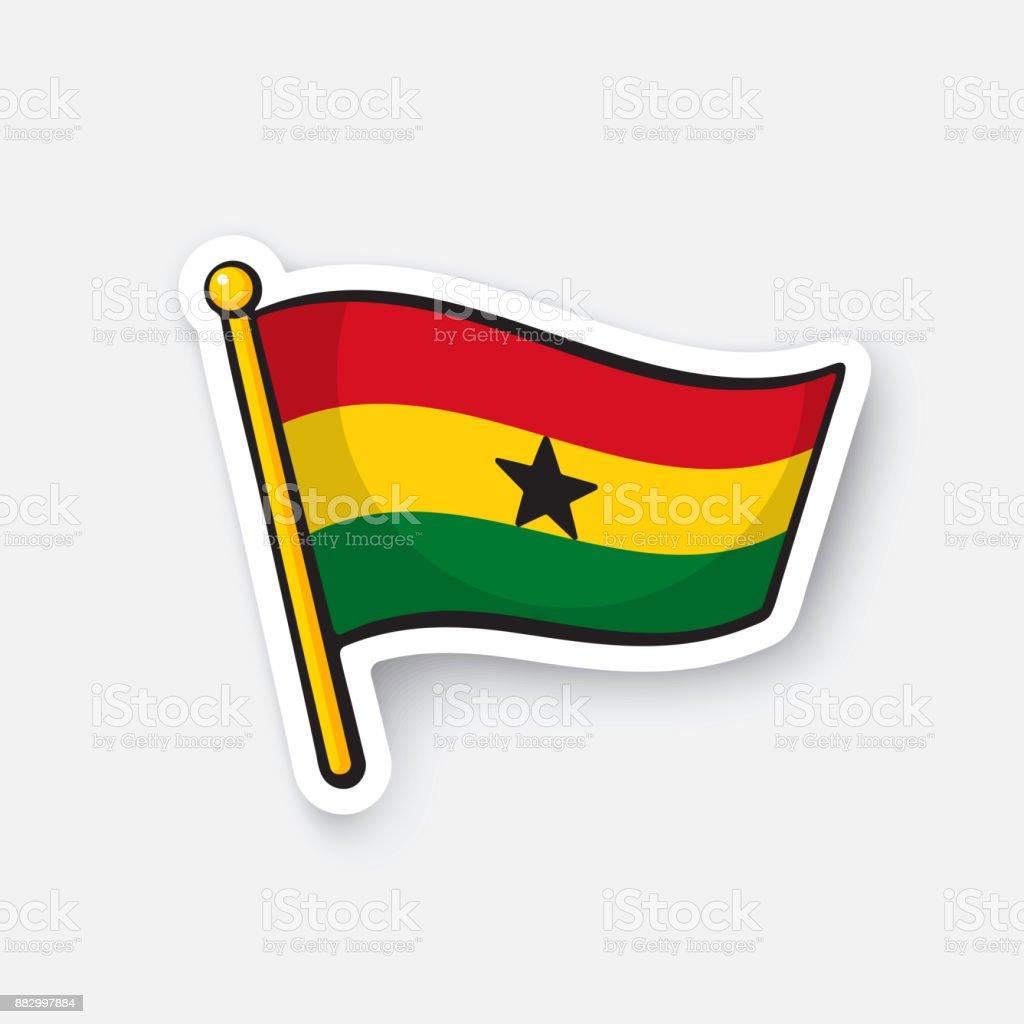 Bandera de la etiqueta engomada de Ghana - ilustración de arte vectorial