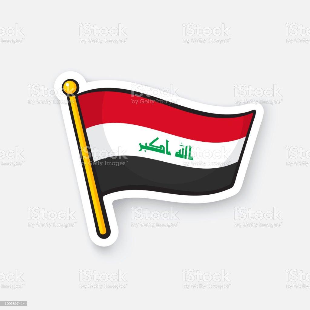 Sticker flag of Iraq on flagstaff vector art illustration