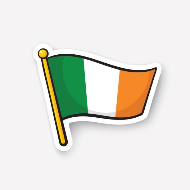 ilustraciones, imágenes clip art, dibujos animados e iconos de stock de bandera de la etiqueta engomada de irlanda en flagstaff - bandera irlandesa