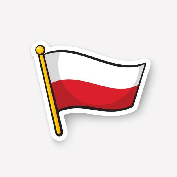 aufkleber flagge polens am fahnenmast - flagge polen stock-grafiken, -clipart, -cartoons und -symbole