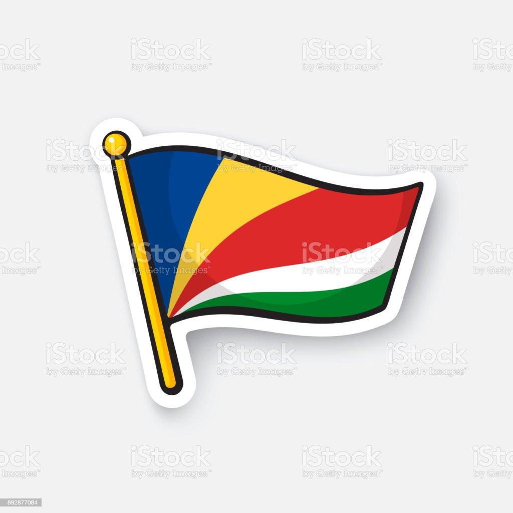 Sticker flag of Seychelles vector art illustration