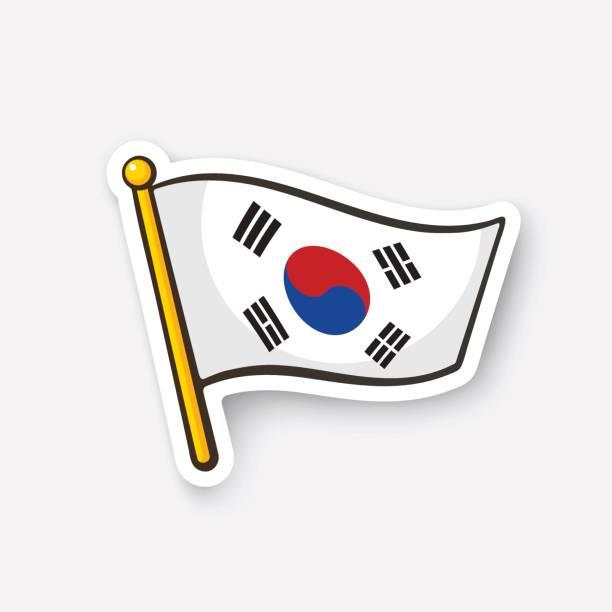 ilustrações, clipart, desenhos animados e ícones de bandeira da etiqueta da coreia do sul em flagstaff - bandeira da coreia