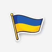 Sticker flag of Ukraine on flagstaff