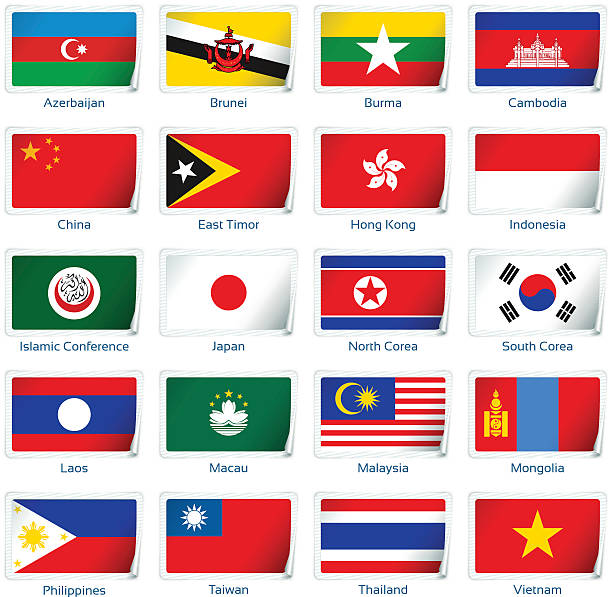 Aufkleber flags: Östliches Asien – Vektorgrafik