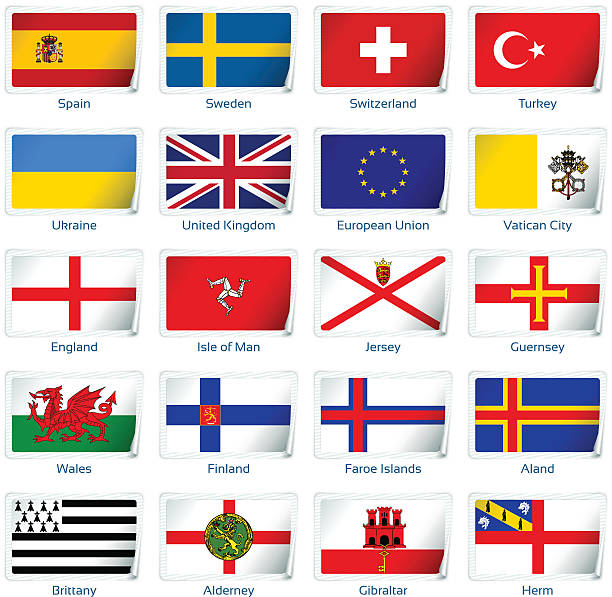 sticker flags: europe - wales stock illustrations, clip art, cartoons, & icons