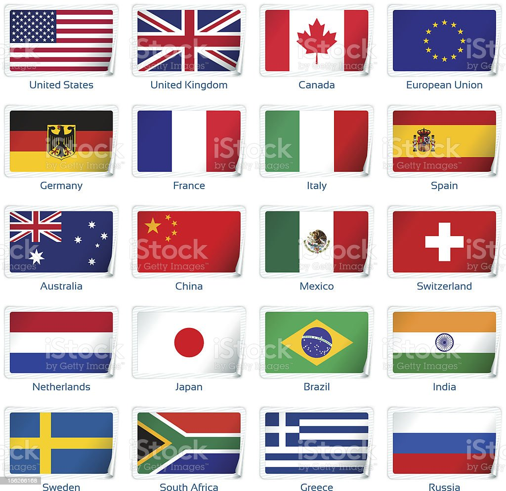 Sticker flags: most popular countries royalty-free stock vector art