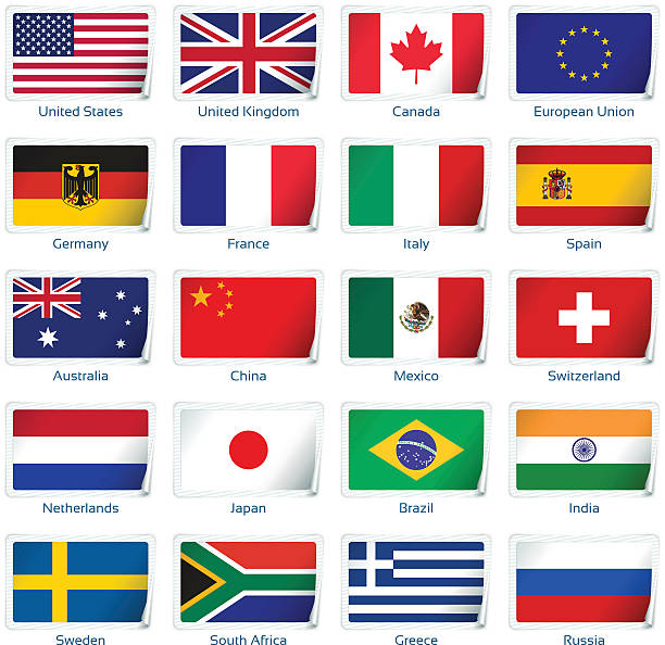 sticker flags: most popular countries - spanish flag stock illustrations, clip art, cartoons, & icons