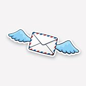 Sticker flying closed envelope with wings