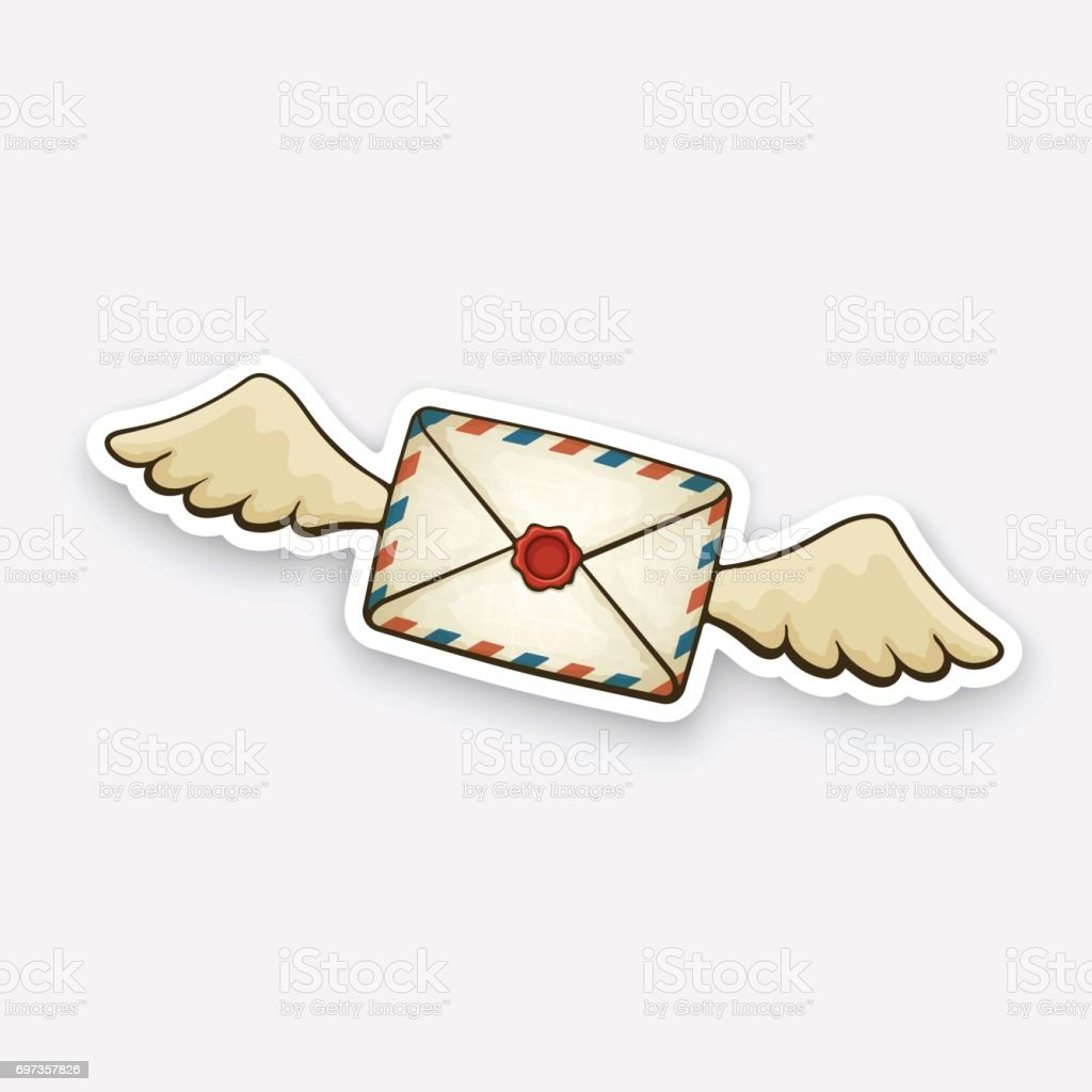 Sticker flying closed vintage envelope with wax seal and wings