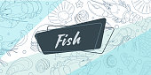 Sticker for Fish food store. In the background is a seafood pattern on a blue background. Vector