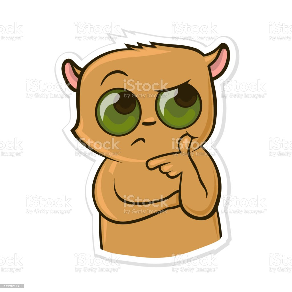 Sticker for messenger with funny animal. Puzzed Hamster. Vector illustration, isolated on white. vector art illustration