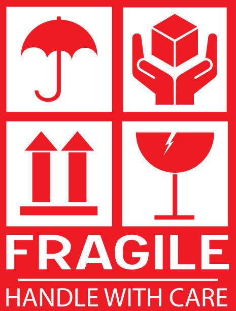 Sticker: fragile - handle with care - this way up - donot step Sticker: fragile - handle with care - this way up - donot step fragility stock illustrations