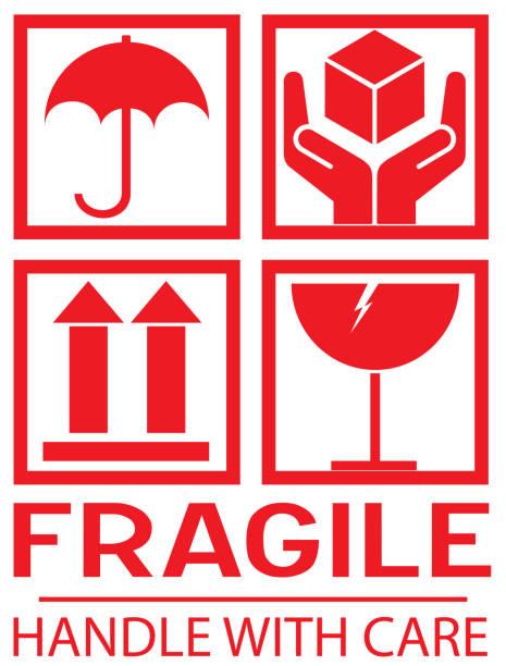 stockillustraties, clipart, cartoons en iconen met sticker: breekbaar-handvat met zorg-deze manier omhoog-donot stap - breekbaarheid