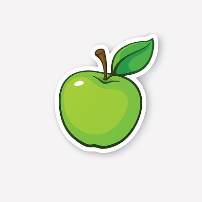 Sticker Green Apple With Stem Stock Illustration ...