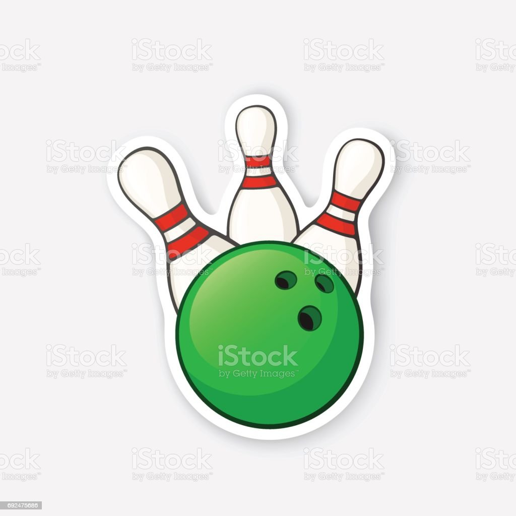 Sticker green bowling ball knocks down pins vector art illustration