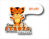 istock Sticker grumpy roaring tiger cub with text stay strong forever on white background 1331321208