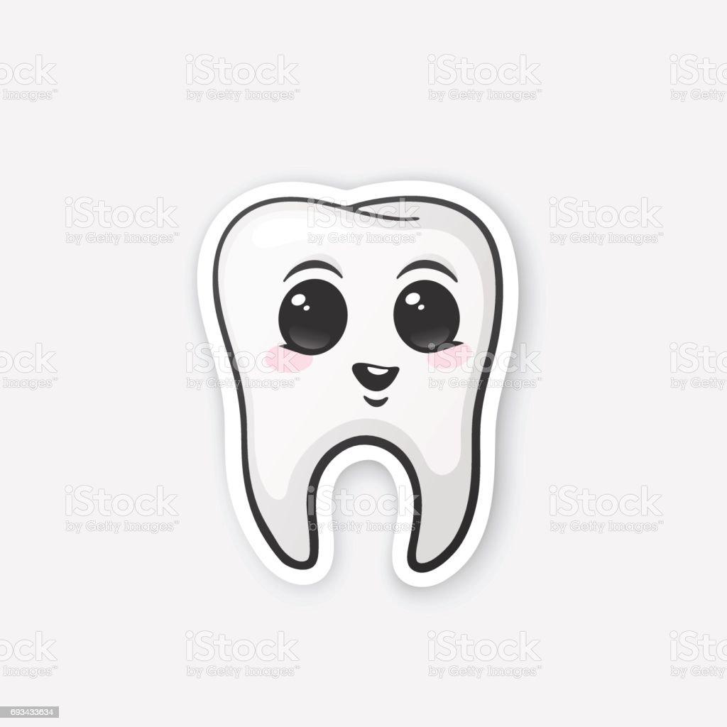 Aufkleber Glücklich Zahn Mit Augen Und Rouge Stock Vektor Art Und
