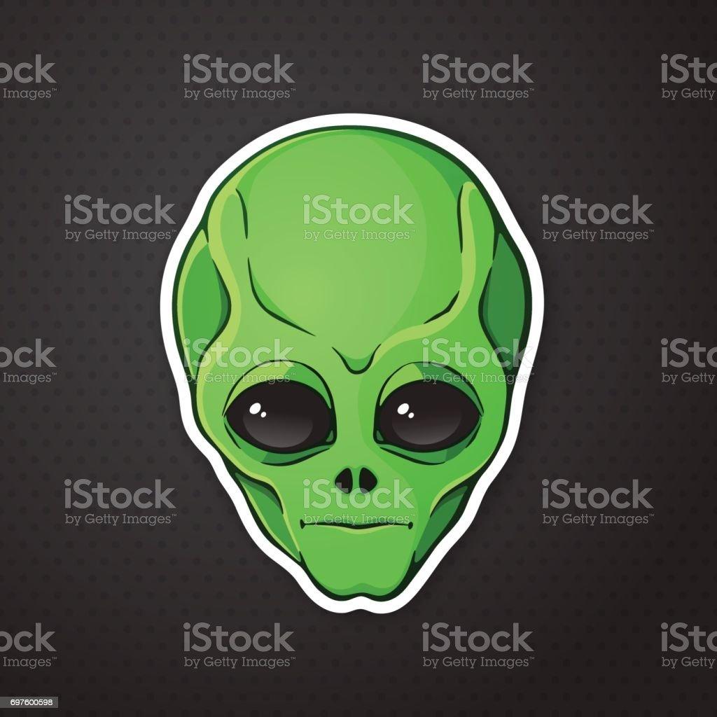 Ilustración De Jefe De La Etiqueta Engomada De Alien Con La