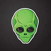 Sticker head of the alien with green skin
