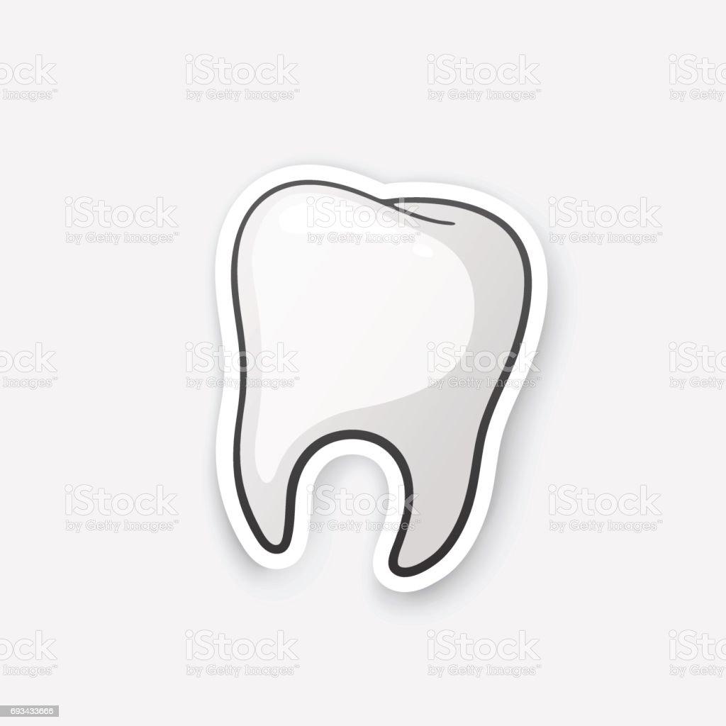 Sticker human tooth vector art illustration