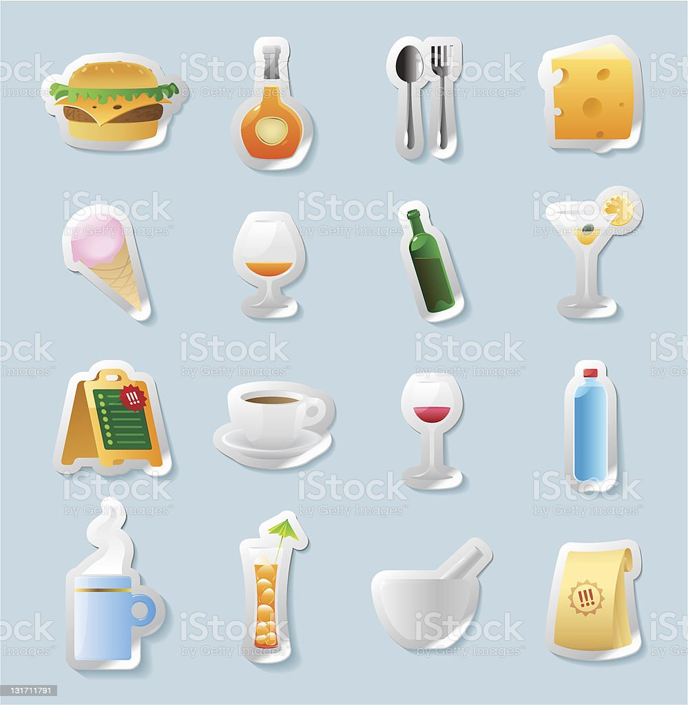 Sticker button set. Icons for food and drinks. Vector illustration....