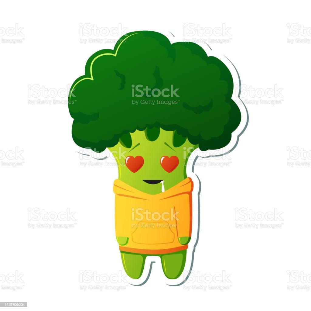 Sticker kawaii broccoli character. Cute broccoli in yellow hoodies....